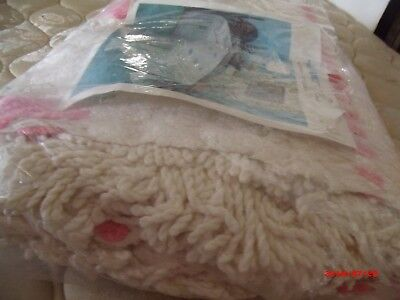 NIP Remembrance pink & White Vintage Chenille Bedspread  Full Size ..NO Reserve