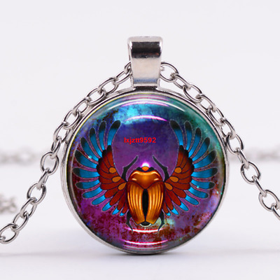 Egyptian Scarab Art Cabochon Tibetan silver Glass Chain Pendant Necklace #8