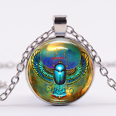 Egyptian Scarab Art Cabochon Tibetan silver Glass Chain Pendant Necklace #3