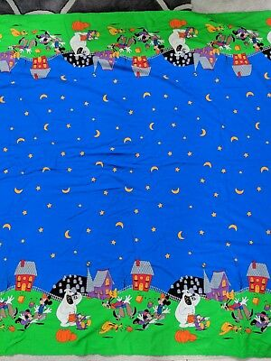 "DISNEY MICKEY, MINNIE, PLUTO, GOOFY, DONALD HALLOWEEN FABRIC/TABLECLOTH 89"" x 56"
