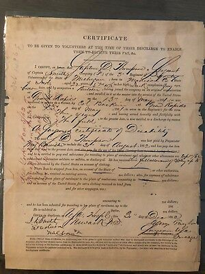 Civil War Discharge Pay Document 3rd Michigan Infantry Wounded
