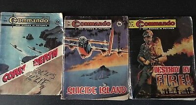 3 Vintage COMMANDO MAGAZINE Mini War Action Adventure Comic Books