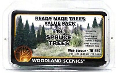 WOODLAND SCENICS Ready Made Trees Value Pack, Blue Spruce 2-4 (18)