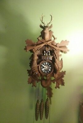 Vintage  Black  Forest  Musical  Hunters Cuckoo Clock