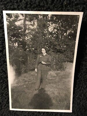 German Photo Luftwaffe Signals Woman in Uniform w/ LW Breast Eagle WW2