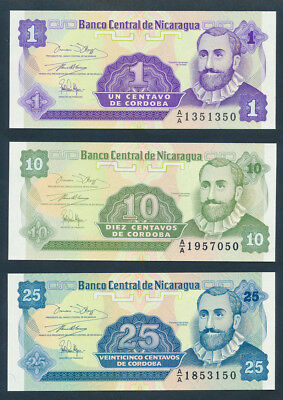 Nicaragua: 1979-1991 COLLECTION of 6 different mostly UNC. Nice starter lot