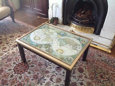 vintage brass edged coffee table with map under glass top