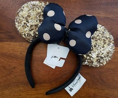NWT Disney Parks Sequin Minnie Mouse Gold and Black Polka Dot Ears Headband