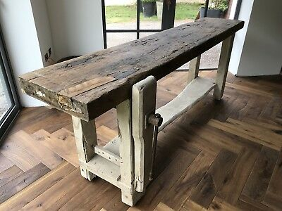 Vintage Industrial Carpenters Workbench Table with vice.