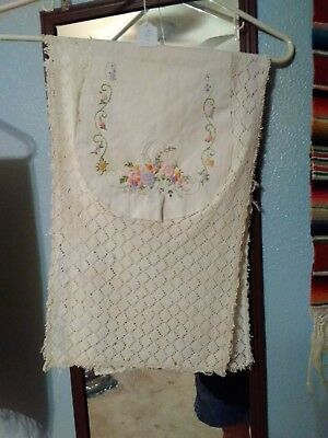 """Vintage Table Runner White lace with inset & embroidery 37"""" x 11"""" #84"""