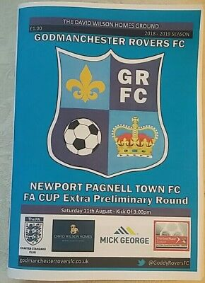 Godmanchester Rovers v Newport Pagnell Town FA Cup 2018/19 football programme