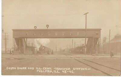 real photo postcard south shore & il central railroad Pullman il transfer sta.