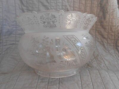 Antique 1800's Crown Top Acid Etched Shade With Storks For Gas Lamp ,Oil,Kerosen