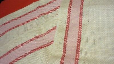 """3 Heavy Flax Linen Kitchen Towels  17"""" by 28"""" New Old Stock Red Stripe"""