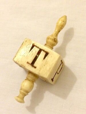 Early Antique Original 4 Side T P H N Hand Carved Gambling Teetotum POW Interest