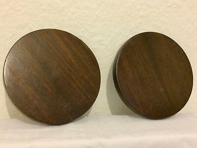 Antique Pair of Mahogany Circular Vase or Figure Display Stands: 13.6cm Diameter
