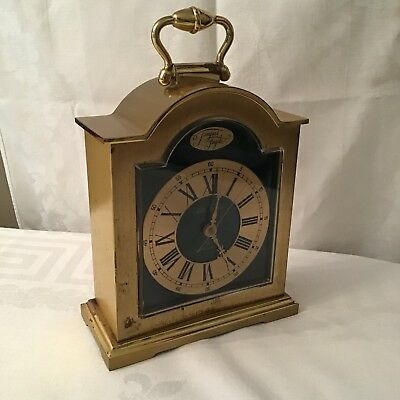 Seth Thomas Tempus Fugite Vintage Antique Gold & Green Carriage Clock, Working
