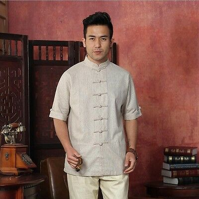 bb51125188 Handsome Chinese Men s tradtional linen Kung Fu Shirt Tops dress shirt Sz   S-XXL