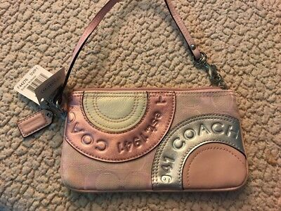 Authentic Coach Patchwork Wristlet Pink/silver/white Leather And Jacquard NWT