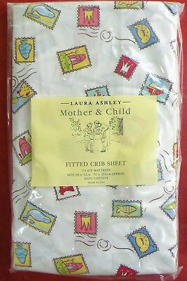 """New Laura Ashley """"MOTHER & CHILD"""" Fitted Baby Sheet Pink Yellow Blue Designs NIP"""