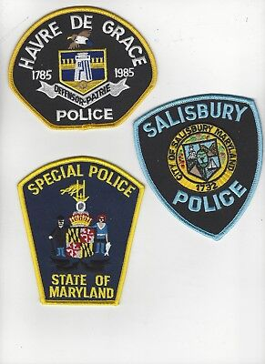 Set of 3 Maryland Police Patches