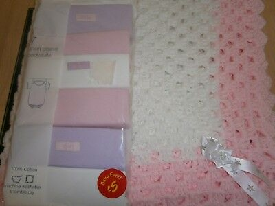"White/pink  30"" x 30""baby blanket plus pack of 7 short sleeved body suits"