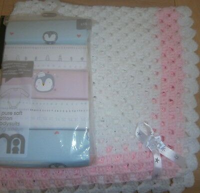 "White/pink  30"" x 30""baby blanket plus pack of 5 long sleeved body suits"