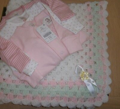"White/pink/apple  30"" x 30""baby blanket plus 3 brand new sleep suits by Next"