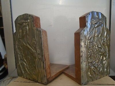 vintage wooden bookends with stylised metal fish design   unusual clearance find