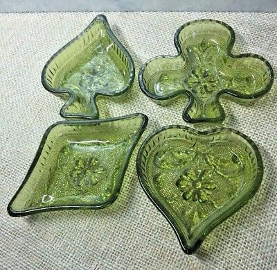 Vintage Green Sandwich Glass Bridge Set Nut Dishes