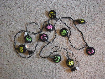 Vintage 10 Light String Halloween Spooky Eye Miniature Light Set Holiday Decor