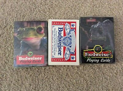 Budweiser Beer Playing Cards Lot of 3 - mint in package - Frog, Lizard, Logo