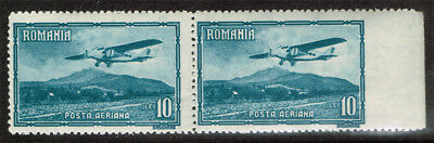 Romania Scott#c20 Mint Never Hinged Pair With Right Stamp Imperf At Right Side