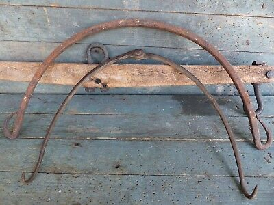 2 primitive antique gambrel game hook wrought iron hand forged 18thc 19thc aafa