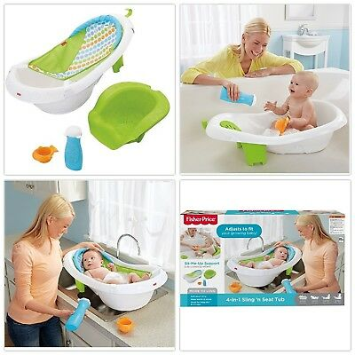 NEW Fisher Price 4 in 1 Sling n Seat Tub Baby Bath Tub Newborn Infant Toddler