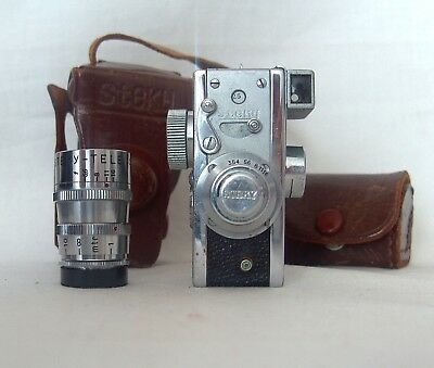 Steky Model IIIA Sub-Miniature Spy Camera 16mm film mit Steky-Tele coated 40mm