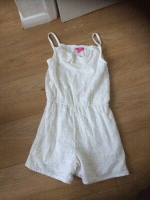 Girls All In One White Playsuit Age 11-12