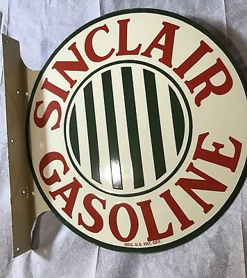 SINCLAIR 2 SIDED FLANGE Porcelain Gasoline Oil Advertising Sign No Reserve!!!