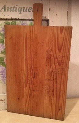 Authentic Vintage French Rectangle Wood Bakery Bread Dough Board with Handle