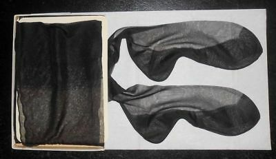 Lot Of 6  Black Sheer Full Fashioned Flat Knit Seamed Stockings  !! L@@k!!