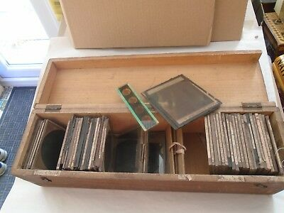 collection of antique magic lantern slides in large wooden box   NICE MIXED LOT