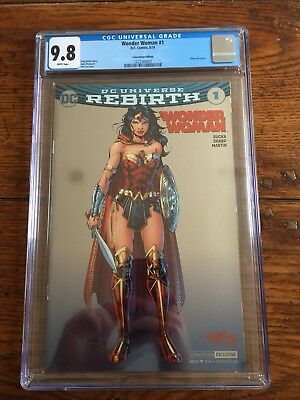 Wonder Woman #1 Rebirth CGC 9.8 Silver Foil Jim Lee Variant SDCC Convention Excl