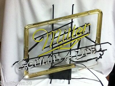 Miller beer sign vintage bar neon light genuine draft lighted not working HD5