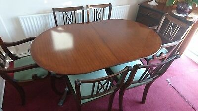 Quality Regency Extendable Dining Table and Eight Chairs Mahogany