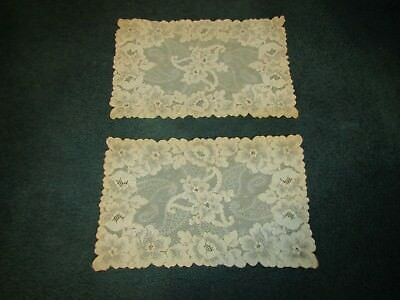 "Pair of Antique Vintage Tambour Net Lace 11"" x 16"" Dresser Scarf Doilie"