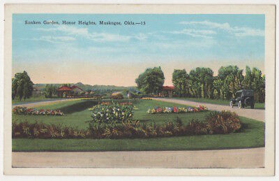 Muskogee Oklahoma c1925 Sunken Garden, Honor Heights, vintage car