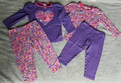 Toddler Girls Boots Mini Club Pyjamas 12-18 Months Purple Owls Hearts Flowers