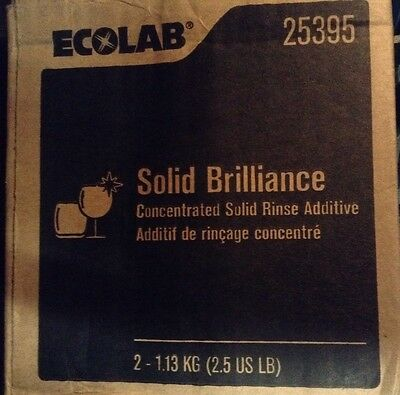 Sealed Carton of Two Ecolab #25395 Concentrated Solid Brilliance Rinse Additive.