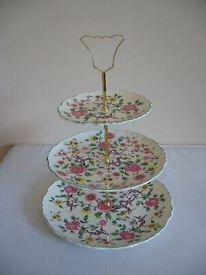 Old Foley - James Kent -3 Tier Cake Stand with Handle  - Design Chinese Rose