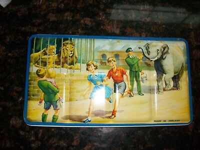 Vintage Water Colors Paint Box Metal Box Zoo Children England
